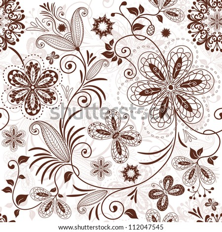 Seamless white floral pattern with vintage brown flowers butterflies (vector) - stock vector