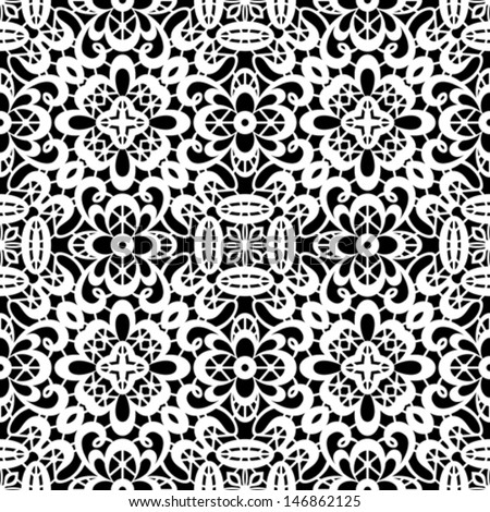 Seamless white lace pattern on black, vector background - stock vector