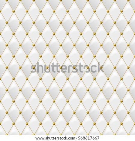 Seamless White Leather Texture With Gold Metal Details Vector Background Golden Buttons