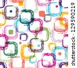 Seamless white pattern with colorful translucent uneven rectangles (EPS 10) - stock photo