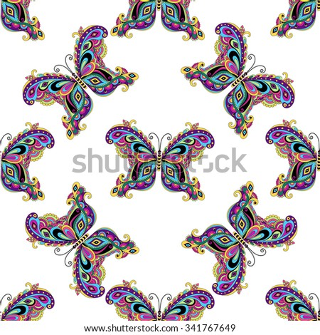 Seamless white pattern with colorful vintage butterflies, vector - stock vector