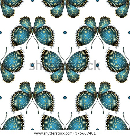 Seamless white pattern with gold-blue vintage butterflies and dots (vector) - stock vector