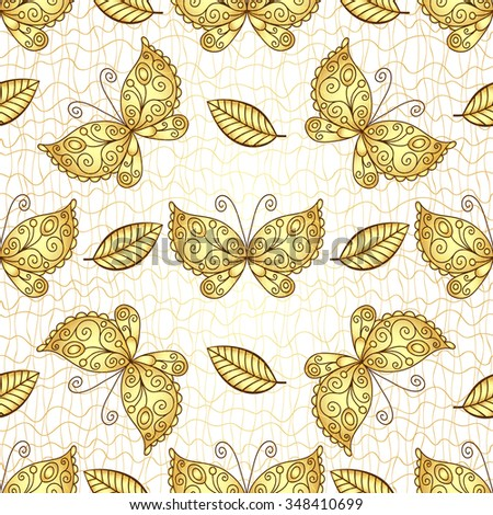 Seamless white pattern with gold butterflies, vector eps10 - stock vector