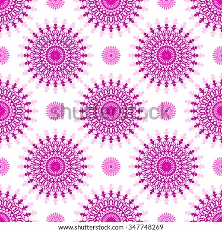 Seamless white pattern with purple vintage balls, vector - stock vector
