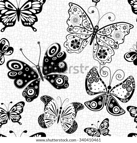 Seamless white pattern with silhouettes black-white butterflies, vector eps10 - stock vector