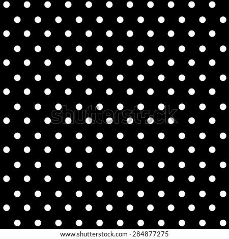 Seamless white polka dots on black background - stock vector