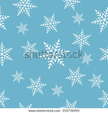 Seamless white snowflakes on blue background pattern. EPS 8 vector illustration, no transparency - stock vector