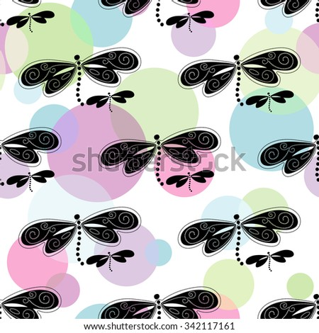 Seamless white spring pattern with colorful balls and black-white dragonflies,  vector eps 10 - stock vector