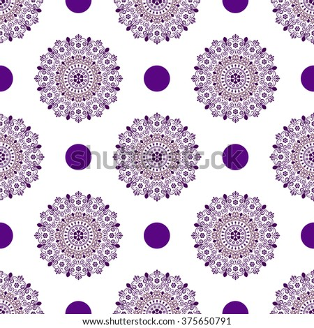 Seamless white vintage pattern with violet polka dots and lacy mandalas (vector) - stock vector