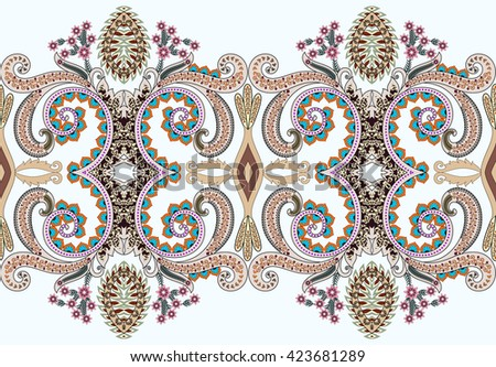 seamless wide border with  swirls  and  flowers  in beige and brown tones on a light blue  background - stock vector