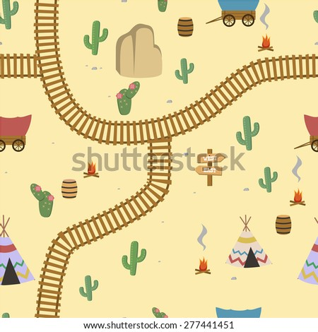Seamless wild west illustration kids background pattern in vector - stock vector