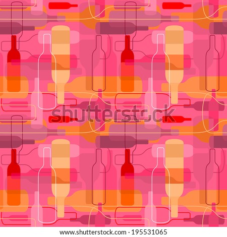 Seamless wine bottle pattern