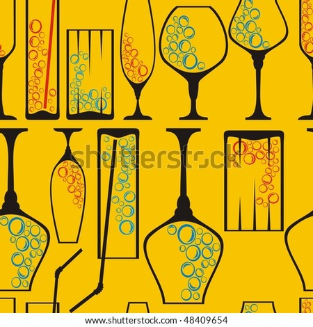 Seamless wineglass background - stock vector