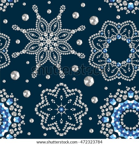 Seamless Winter Christmas Snowflake Crystal Precious Wallpaper Card Beautiful New Year Jewelry Fabric
