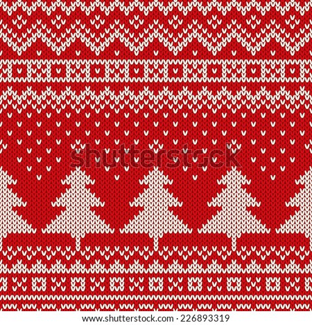 Seamless winter holiday pattern on the wool knitted texture. Christmas Background - stock vector