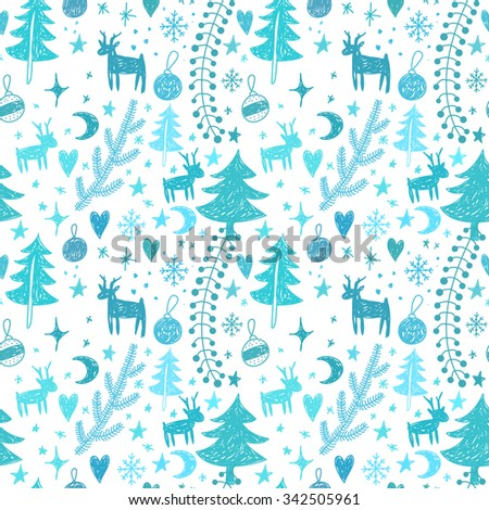 Seamless winter pattern with Christmas motifs Christmas tree, reindeer, stars, snowflakes. Children's sketch vector pattern. - stock vector