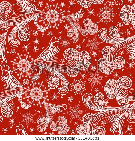 seamless winter pattern with white snowflakes on red background