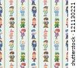 seamless winter people pattern,cartoon vector illustration - stock vector