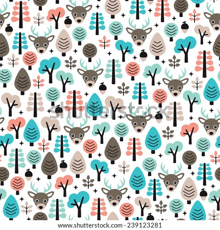 Seamless winter reindeer animal woodland scandinavian style kids background pattern in vector - stock vector