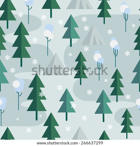 Seamless winter tree pattern in flat style. Vector. - stock vector