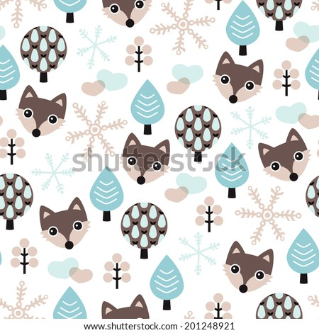 Seamless winter wolf in pastel blue scandinavian forest background pattern in vector - stock vector