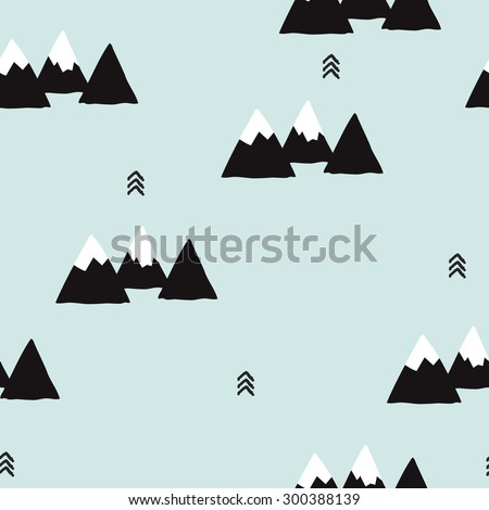 Seamless winter wonderland geometric black and white mountain theme illustration triangle abstract landscape background pattern in vector - stock vector