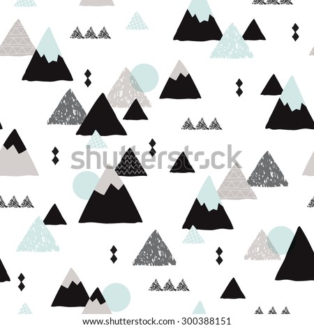 Seamless winter wonderland geometric japanese fuji mountain theme illustration triangle abstract landscape background pattern in vector - stock vector