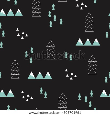Seamless winter wonderland geometric night abstract christmas theme tree mountains and snow illustration scandinavian style background pattern in vector - stock vector