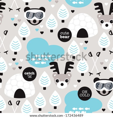 Seamless winter wonderland moose and eskimo snow woodland illustration background pattern in vector - stock vector