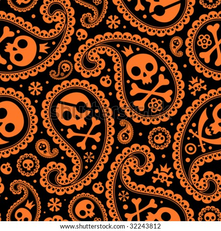 seamless with a paisley and skulls - stock vector