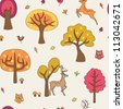 Seamless with autumn forest and deer - stock vector