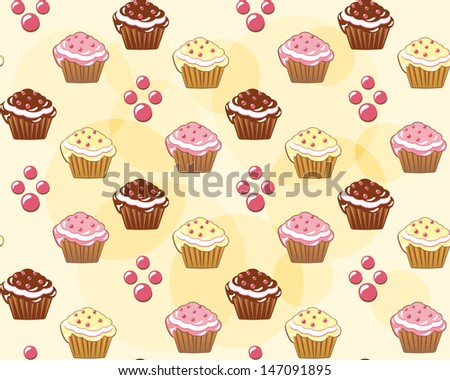Seamless with cake. Vector illustration. - stock vector