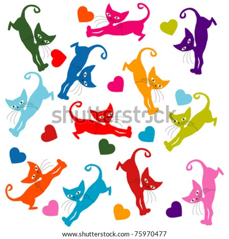 Seamless with colored stylized cats - stock vector