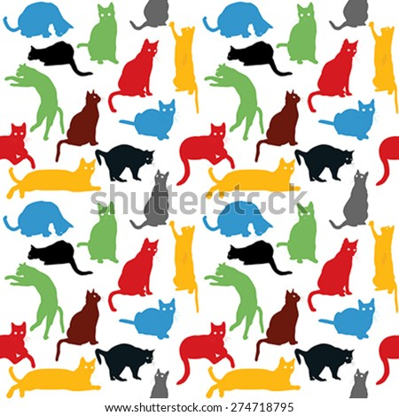 Seamless with colorful cats silhouettes, background for kids - stock vector