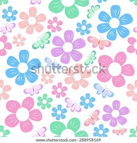 seamless with colorful simple different flowers and butterfly on white background, childish pattern, vector illustration - stock vector