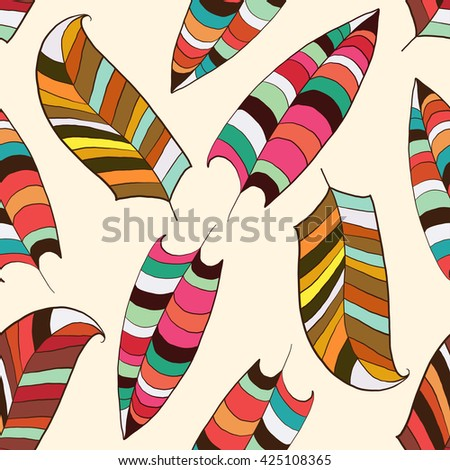 Seamless with feathers. Seamless pattern with colorful feathers. For website design, print on paper, fabrics, wallpaper. Stock vector - stock vector
