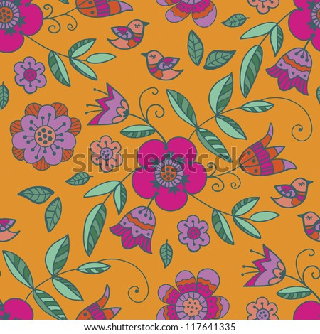 Seamless with floral pattern on an orange background - stock vector