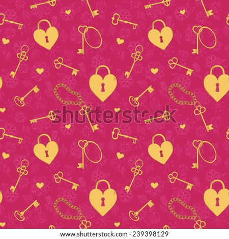 Seamless with keys and heart shaped locks - stock vector