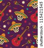 Seamless with sugar skulls - stock photo