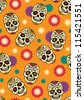 Seamless with sugar skulls - stock vector