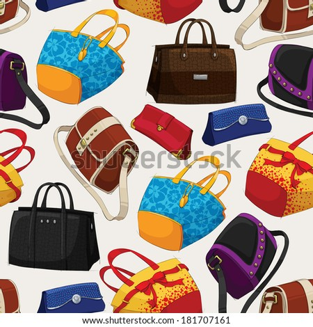 Seamless woman's fashion bags pattern background vector illustration - stock vector