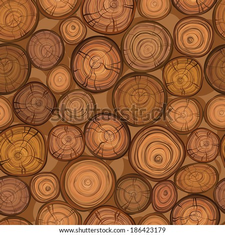 Seamless wood texture of cut tree trunk. Vector pattern. - stock vector