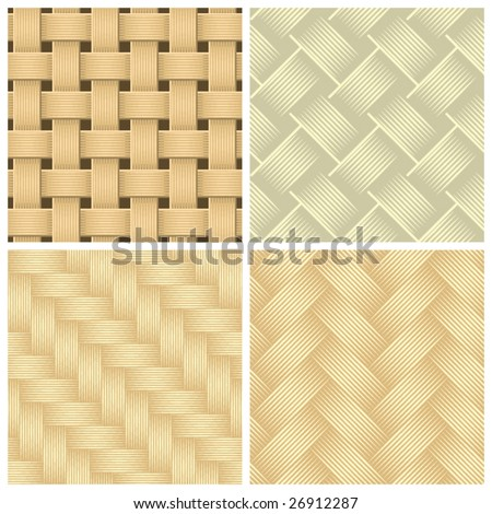 Seamless woven wallpaper patterns, vector - stock vector