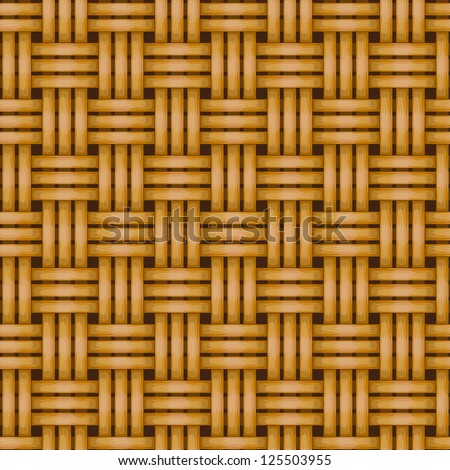 seamless woven wicker rail fence background - stock vector