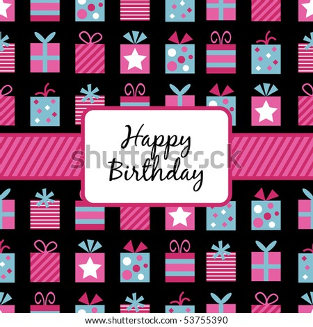 seamless wrapping paper (with clipping path) with pink and blue birthday gifts and banner - stock vector