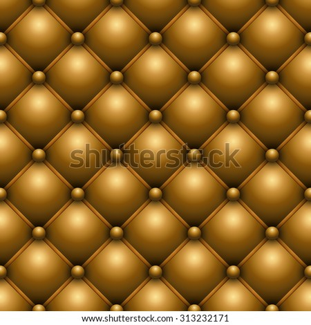 Seamless yellow buttoned leather upholstery vector texture. - stock vector