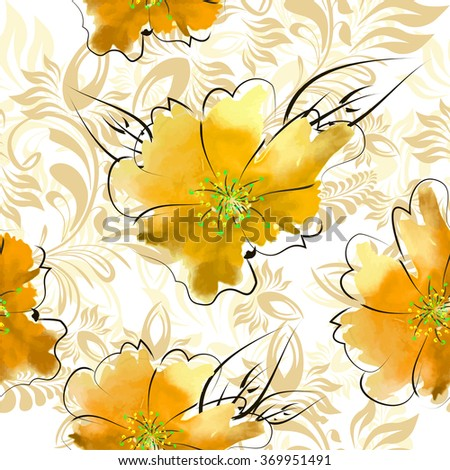 Seamless yellow floral background. Vector - stock vector