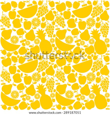 Seamless yellow fruit background. Vector Illustration - stock vector