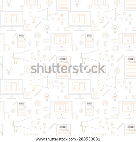 Seamless yellow pattern background with icons in lines style for design and computer work - stock vector