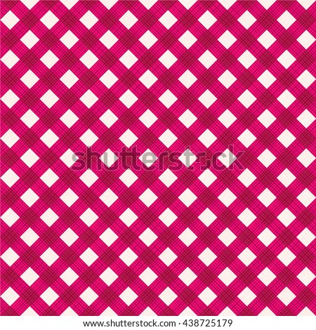Seamless (you see 4 tiles) burgundy red diagonal gingham fabric cloth, pattern, swatch, background, texture or wallpaper.   - stock vector